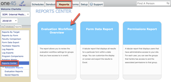 Reports Center: Evaluation Workflow Overview | one45 Software
