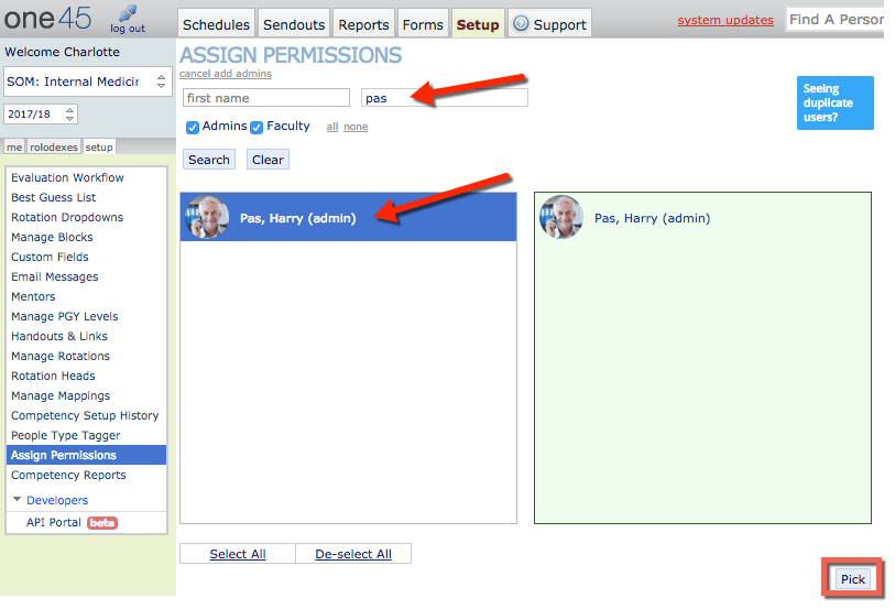 Assigning Permissions via the Setup Tab as an admin | one45 Software