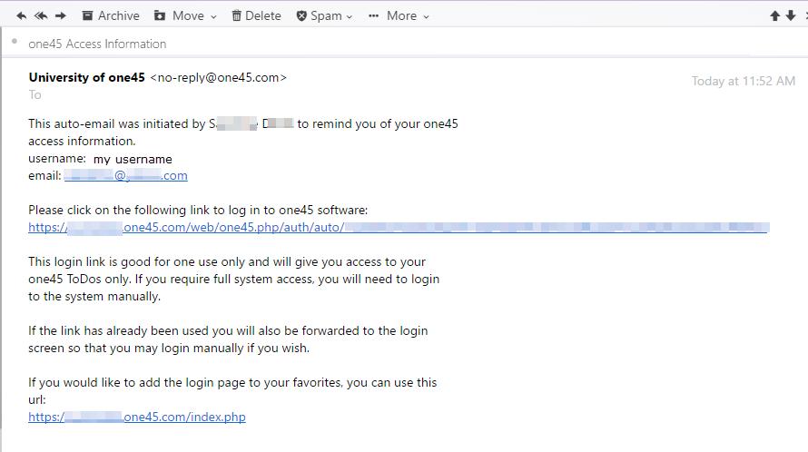 How do I send a user a one time login link | one45 Software Customer Hub