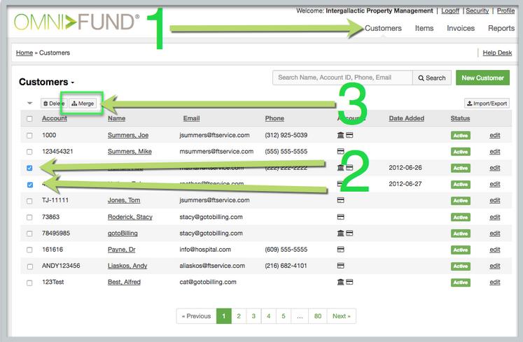 Merging Duplicate Customers | gotoBIlling Inc Customer Hub