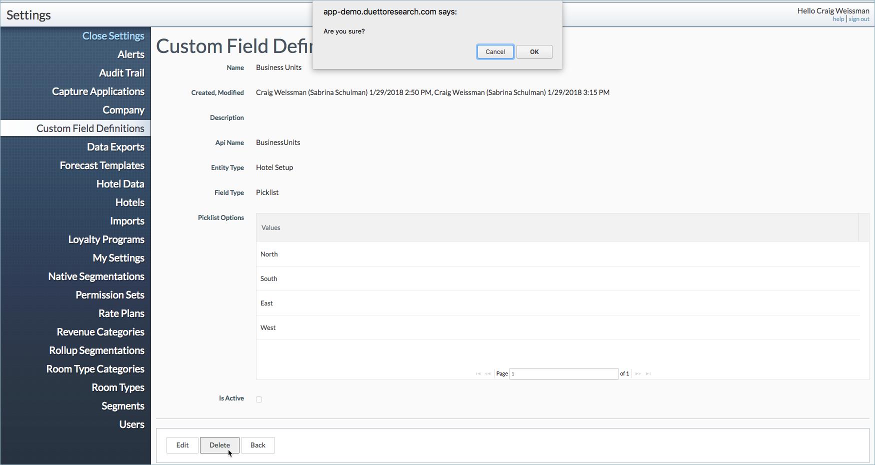 How to delete Custom Fields | Duetto Customer Hub